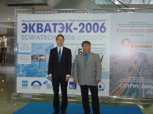 Dr. Elmar Fuchs (right) and Dipl. Ing. Johannes Larch (left) at a Water Conference in Russia